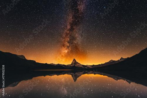 Fotografie, Obraz  Milky way at lake Stellisee Matterhorn  , Zermatt , Switzerland.