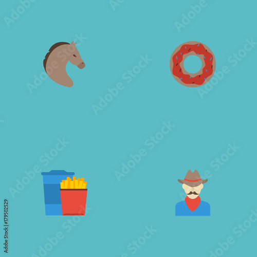 Foto  Flat Icons Western, Horse, Doughnut And Other Vector Elements