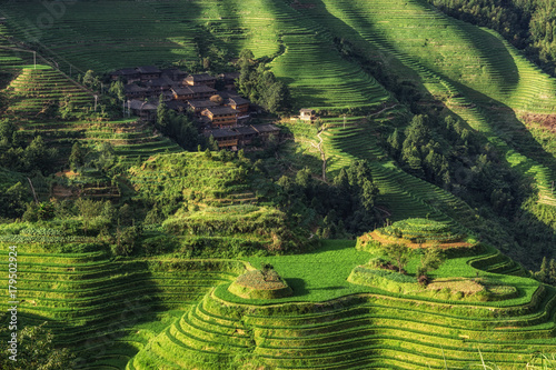 La pose en embrasure Guilin Longi rice terrace
