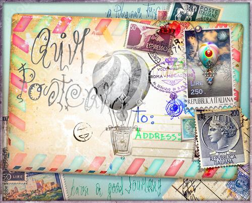 Poster Imagination Cartolina vintage di posta aerea con vecchi francobolli e mongolfiere