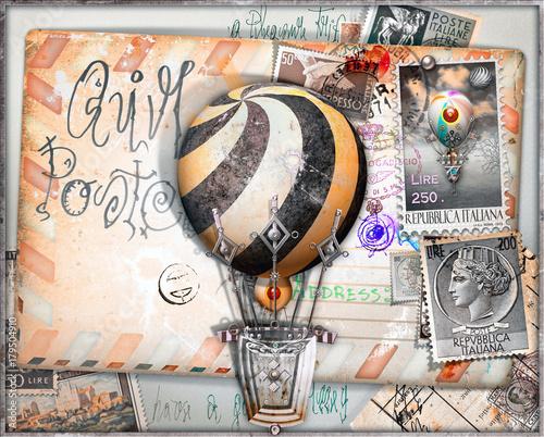 Papiers peints Imagination Cartolina vintage di posta aerea con vecchi francobolli e mongolfiere
