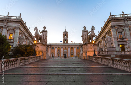 Photo  Rome, Italy - The Piazza del Campidoglio square, headquarters of the mayor of Rome, at the dawn