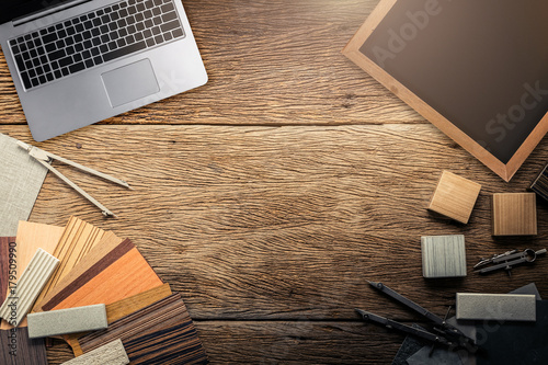 Fototapeta design concept with material sample with stone laminate veneer wooden pencil and smartphone with free copy space for your creativity ideas text obraz na płótnie