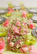 Festive table in pink and green