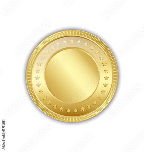 Fotografía  Golden token decorated with stars placed on white background