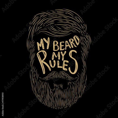 Fotografie, Obraz  My beard my rules. Hand lettering on background with human beard.
