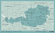 Austria Map - Vintage Vector Illustration
