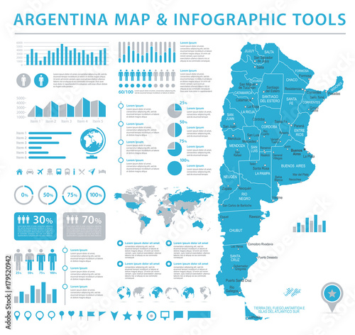Photo Argentina Info Graphic Map - Vector Illustration