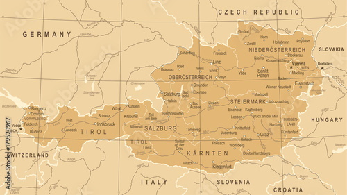 Fotografía  Austria Map - Vintage Vector Illustration