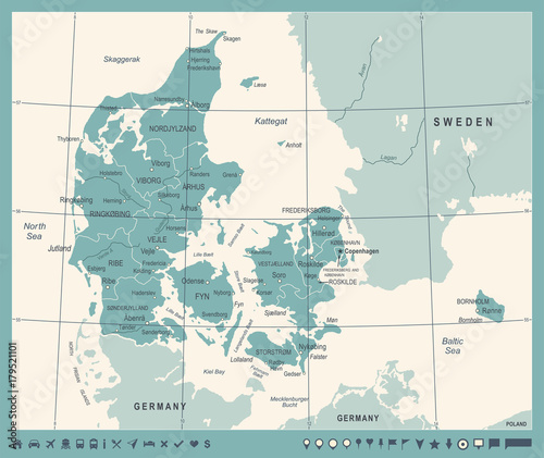 Fotografía Denmark Map - Vintage Vector Illustration