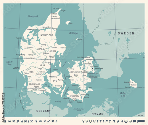 Fototapeta Denmark Map - Vintage Vector Illustration