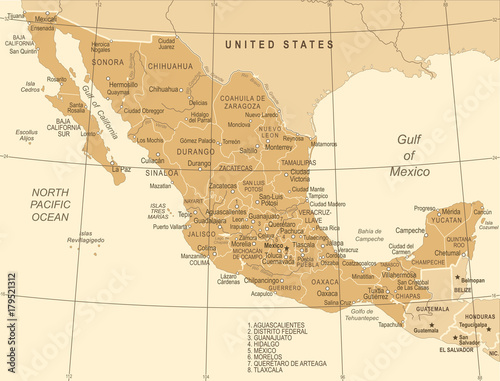 Photo Mexico Map - Vintage Vector Illustration