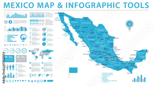 Photo Mexico Map - Info Graphic Vector Illustration