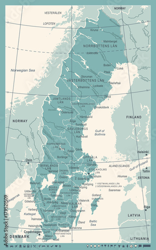 Fotografía Sweden Map - Vintage Vector Illustration