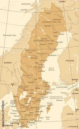 Cuadros en Lienzo Sweden Map - Vintage Vector Illustration