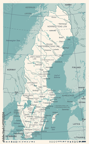 Fotomural Sweden Map - Vintage Vector Illustration