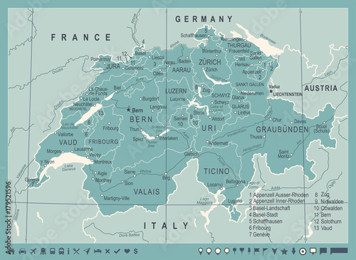 Switzerland Map - Vintage Vector Illustration Canvas Print
