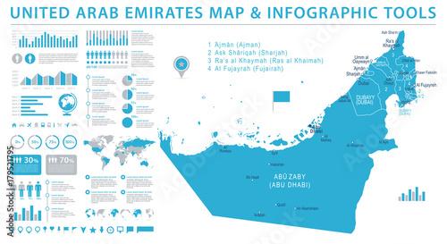 Fotografie, Obraz  United Arab Emirates Map - Info Graphic Vector Illustration