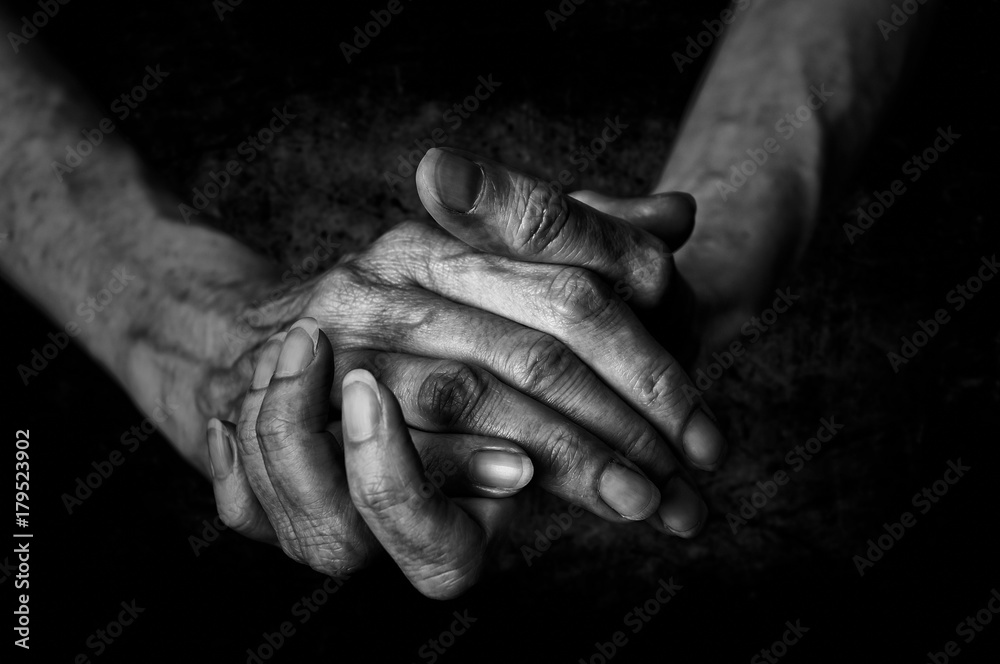 Fototapeta Black and White photo of senior woman hands on black background