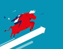 Businessman Ride A Bull. Conce...
