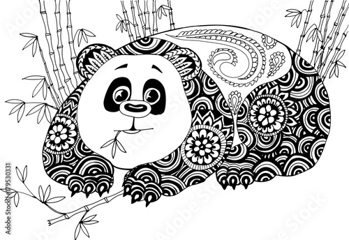 8a30846df57f4 Panda in the bamboo thickets. Hand drawn patterns for coloring. Freehand sketch  drawing for