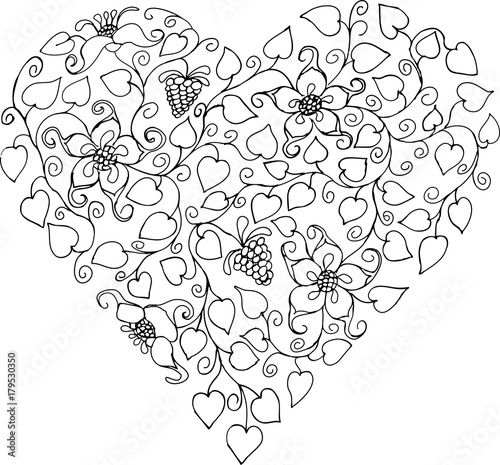 Silhouette heart. Hand drawn patterns for coloring. Freehand ...