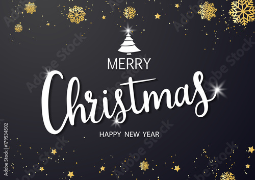 Fototapeta Merry Christmas vector text and New Year Xmas background