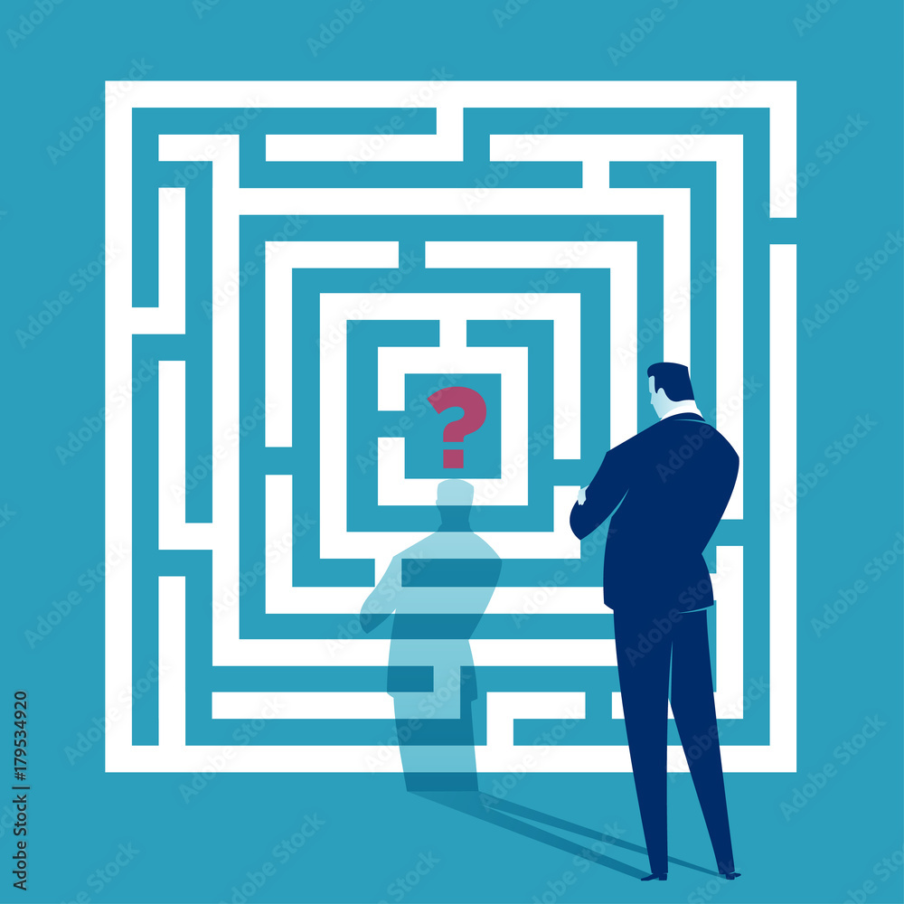 Fototapeta Challenge. Businessman looking at white labyrinth. Business concept illustration