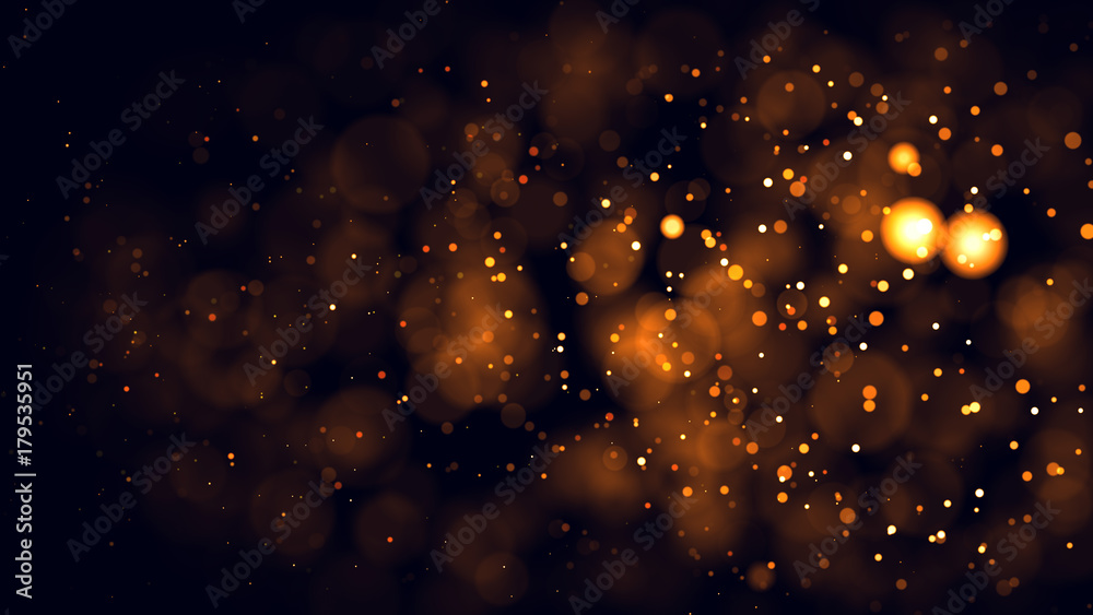 Fototapeta Gold abstract bokeh background. real backlit dust particles with real lens flare.