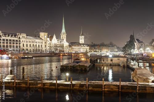 Zdjęcie XXL Zurych cityscape nocą