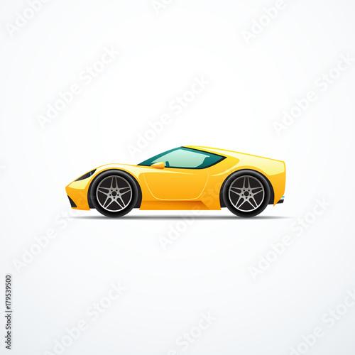 Staande foto Cartoon cars Vector yellow cartoon sport car. Side view