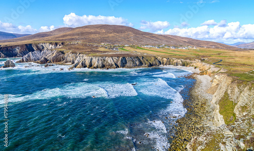 Fotobehang Donkergrijs beautiful rural irish country nature landscape from the north west of ireland. scenic achill island along the wild atlantic way. famous irish tourism attraction.