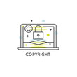 Vector Icon Style Illustration Logo Set of Concepts of Digital Law and Copyright Sign for Web and Mobile, Patent, DMCA and Online Privacy