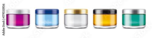 Fotografía  Clear Jar Mockup for Cosmetic Cream or Gel. Transparent Jars Set.