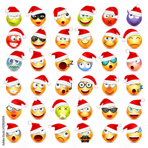 Smiley,emoticon set  Yellow face with emotions and Christmas