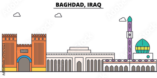 Valokuva  Baghdad, Iraq outline skyline, arab flat thin line icons, landmarks, illustrations