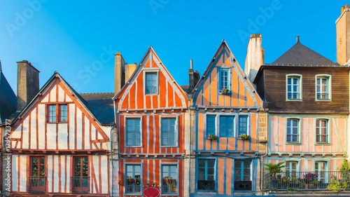 Canvas Print Vannes, beautiful old half-timbered houses, magnificent town in Brittany