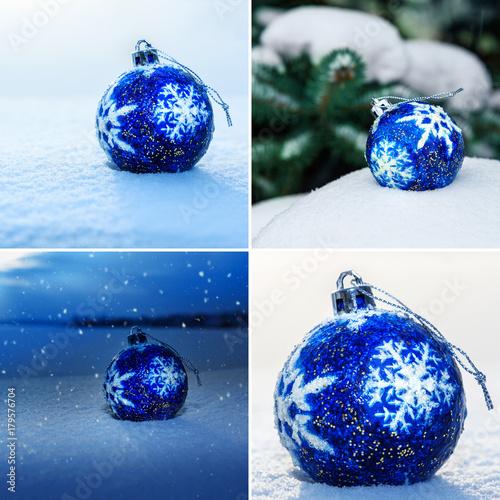 Zdjęcie XXL Kolaż Błękitna Bożenarodzeniowa piłka na śniegu