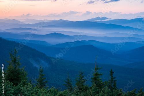 Fotografia, Obraz  evening landscape in Carpathian Mountains