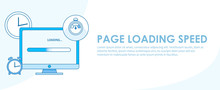 Page Loading Speed Banner. Computer With Clock And Load Optimization Check