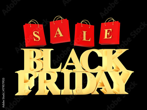 31b1e7ee877 3D illustration. By ravital. Golden text Black Friday and red shopping bags  with word Sale isolated on black background.
