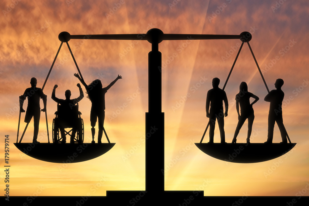 Fototapeta Concept of social b legal equality of persons with disabilities in society