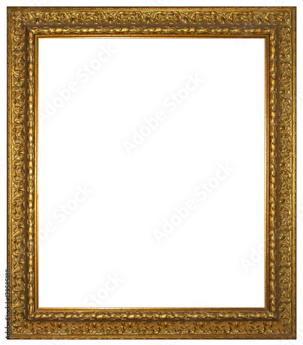 Gold wooden frame for painting or picture isolated on white ...