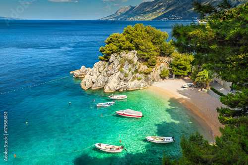 Foto auf Gartenposter Strand Tropical bay and beach with motorboats, Brela, Dalmatia region, Croatia