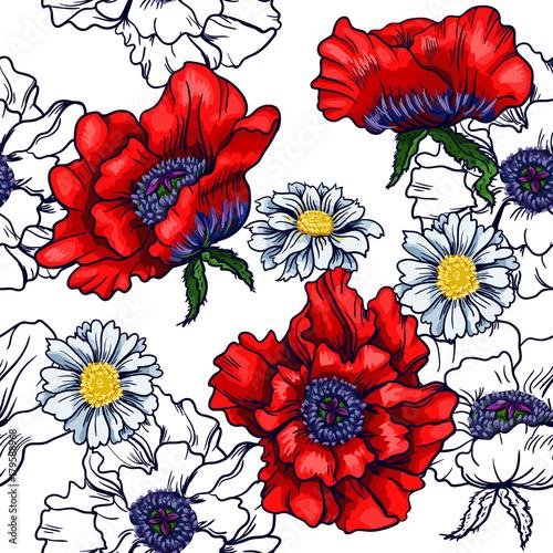 wektorowa-bezszwowa-horyzontalna-granica-z-czerwonym-makiem-i-rumiankiem-graficzna-ilustracja-do-druku