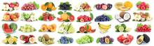 Früchte Frucht Obst Collage Frische Apfel Orange Zitrone Beeren Freisteller Freigestellt Isoliert