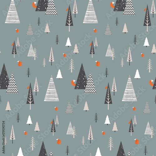 boze-narodzenie-zimowy-krajobraz-lasu-ze-zwierzetami-lesnymi-wzor-streszczenie-ilustracji-wektorowych