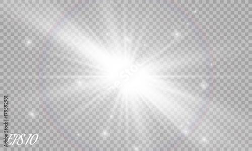 Fototapeta Lens flare light effect. Sun rays with beams isolated on transparent background. Vector illustration. obraz na płótnie