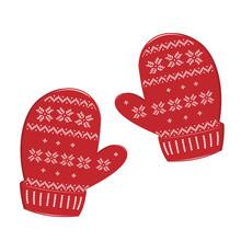 Pair Of Knitted Christmas Mitt...