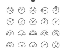 Speedometer UI Pixel Perfect Well-crafted Vector Thin Line Icons 48x48 Ready For 24x24 Grid For Web Graphics And Apps With Editable Stroke. Simple Minimal Pictogram